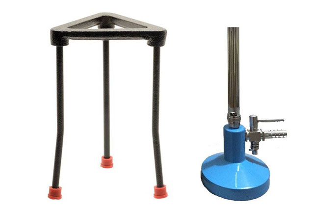 tripod stand and Bunsen Burner