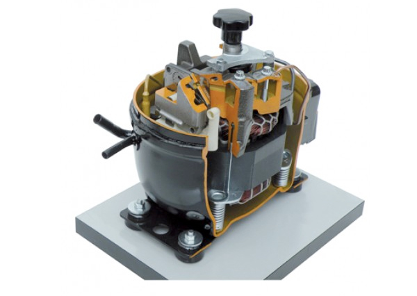 Cut Section Model Of Open Hermetic Compressor